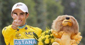 Alberto Contador in the yellow jersey