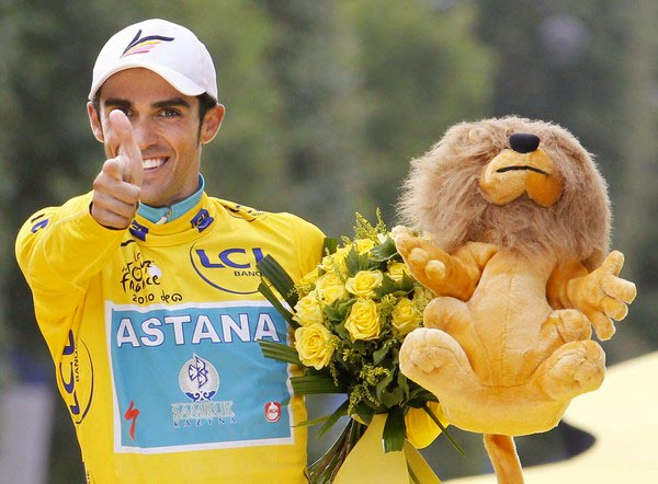 Alberto Contador in the yellow jersey