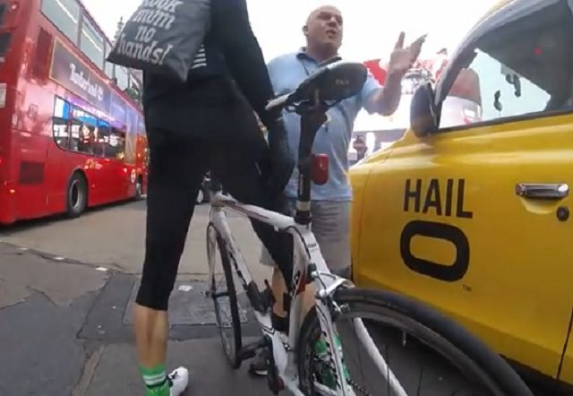 Angry driver cuts up cyclist