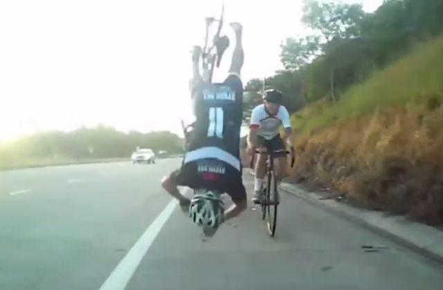 Cyclist brarrel roll