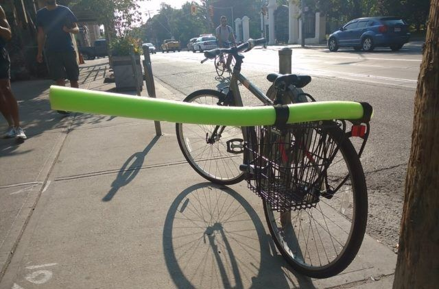Cyclist pool noodle
