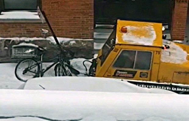 Snow-clearing crushes bicycle