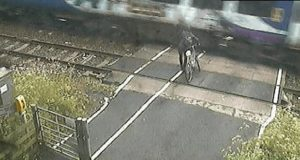 cyclist near miss train