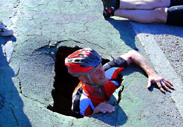 cyclist pothole