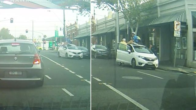 Cyclist unharmed after flipping onto car's roof melbourne