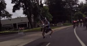 cyclist catapulted