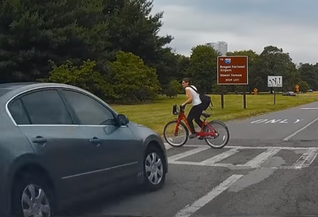 cyclist almost hit