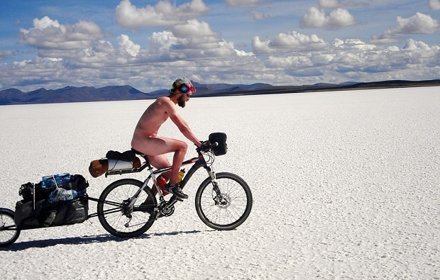 cyclist naked sunburn