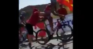 Maxim Belkov pushed off bike vuelta