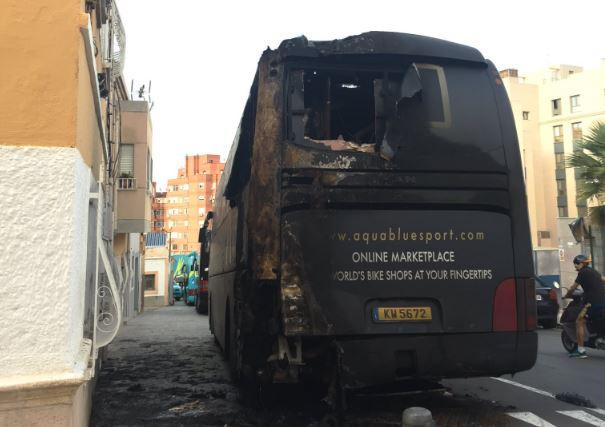 Aqua Blue Sport team bus destroyed Vuelta