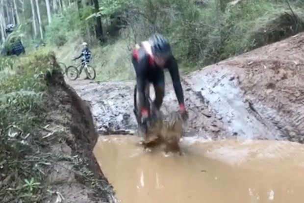 road cyclist goes off road