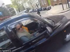 road rage cyclist taxi driver london