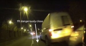 too close driver overtakes cyclist