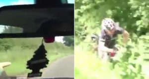 cyclist pushed from passing car
