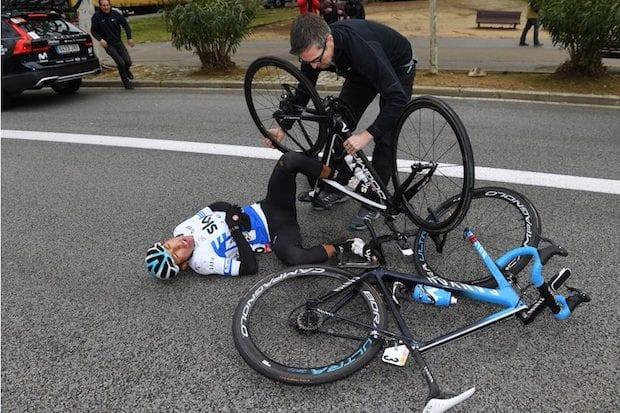 Egan Bernal crash Volta a Catalunya