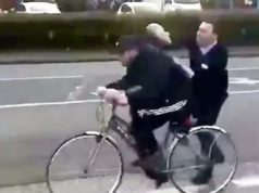 Lidl worker chasing cyclist
