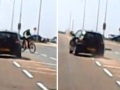 driver swerves towards teenage cyclist