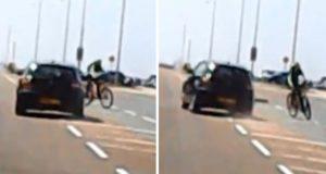 driver swerves towards teenage cyclist