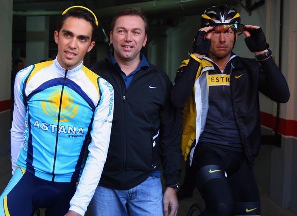 Alberto Contador Johan Bruyneel Lance Armstrong