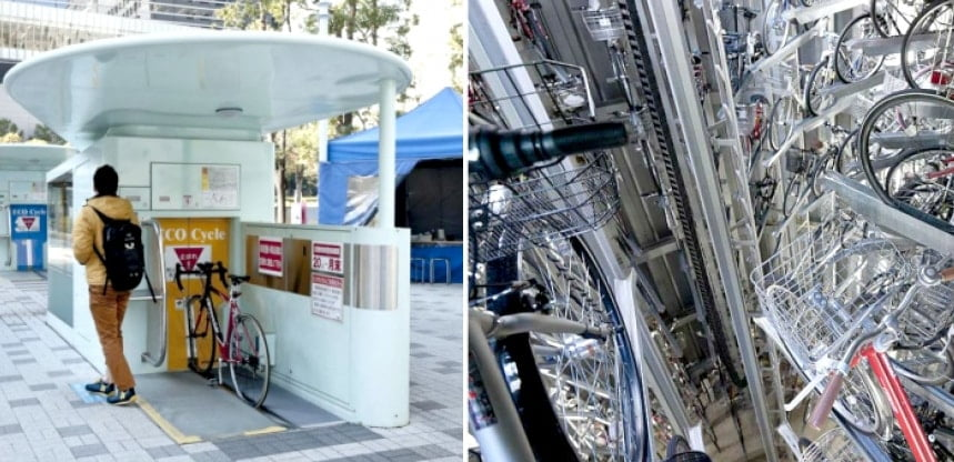 Japan amazing automated underground bike parking