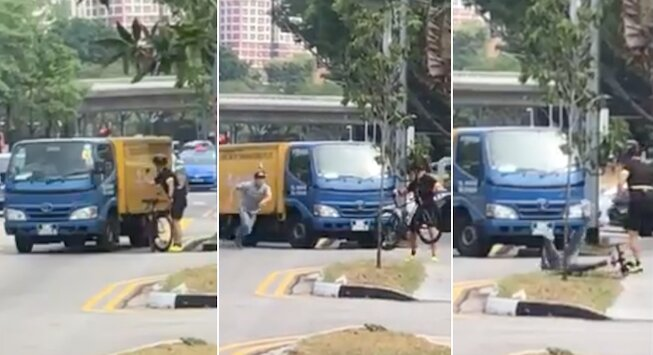 Lorry driver attempts to run down cyclist but gets punched in the face