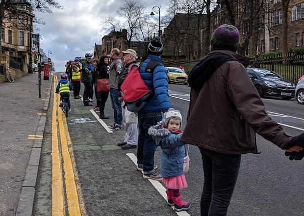 people protected bike lane glasgow